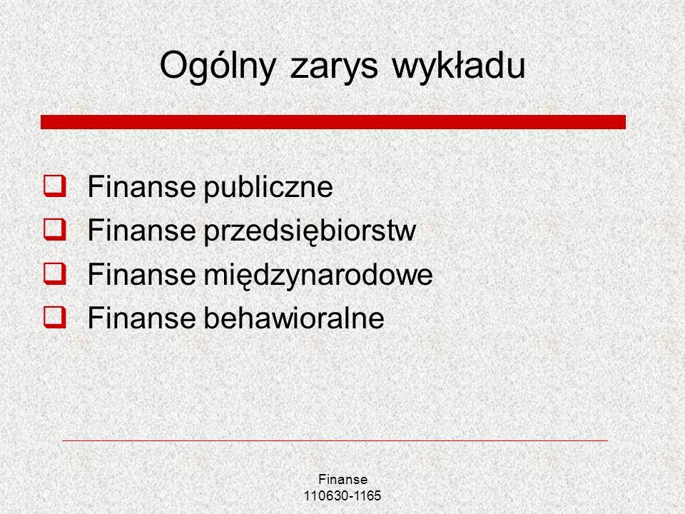Finanse 110630-1165 Ogólny zarys wykładu Finanse publiczne Finanse przedsiębiorstw Finanse międzynarodowe Finanse behawioralne