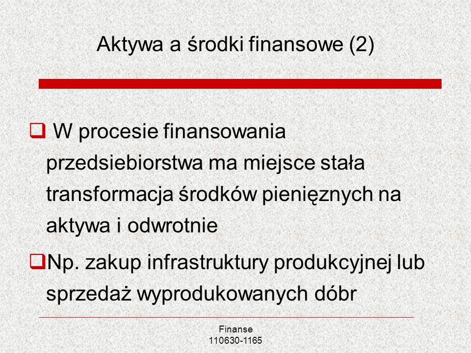 Aktywa a środki finansowe (2) W procesie finansowania przedsiebiorstwa ma miejsce stała transformacja środków pienięznych na aktywa i odwrotnie Np. za