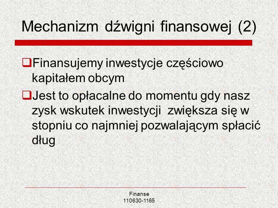 Mechanizm dźwigni finansowej (2) Finansujemy inwestycje częściowo kapitałem obcym Jest to opłacalne do momentu gdy nasz zysk wskutek inwestycji zwięks