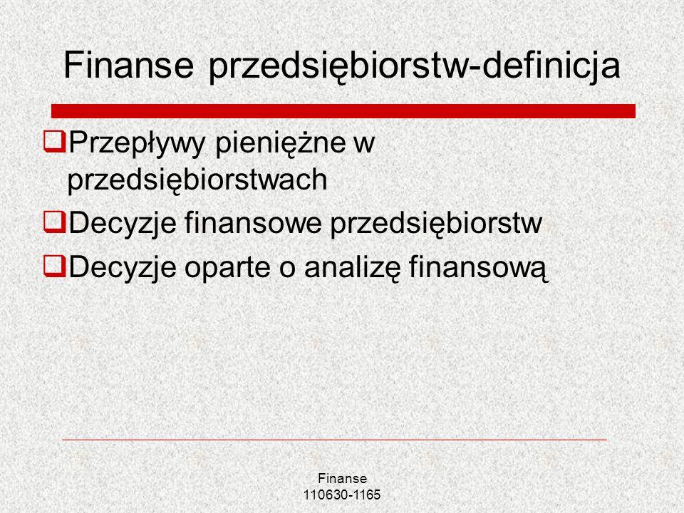 Aktywa Aktywa trwałe Aktywa bieżace (obrotowe) Pasywa Kapitał własny Kapitał obcy (oprocentowany) Inne zobowiązania (nieoprocentowane) Finanse 110630-1165