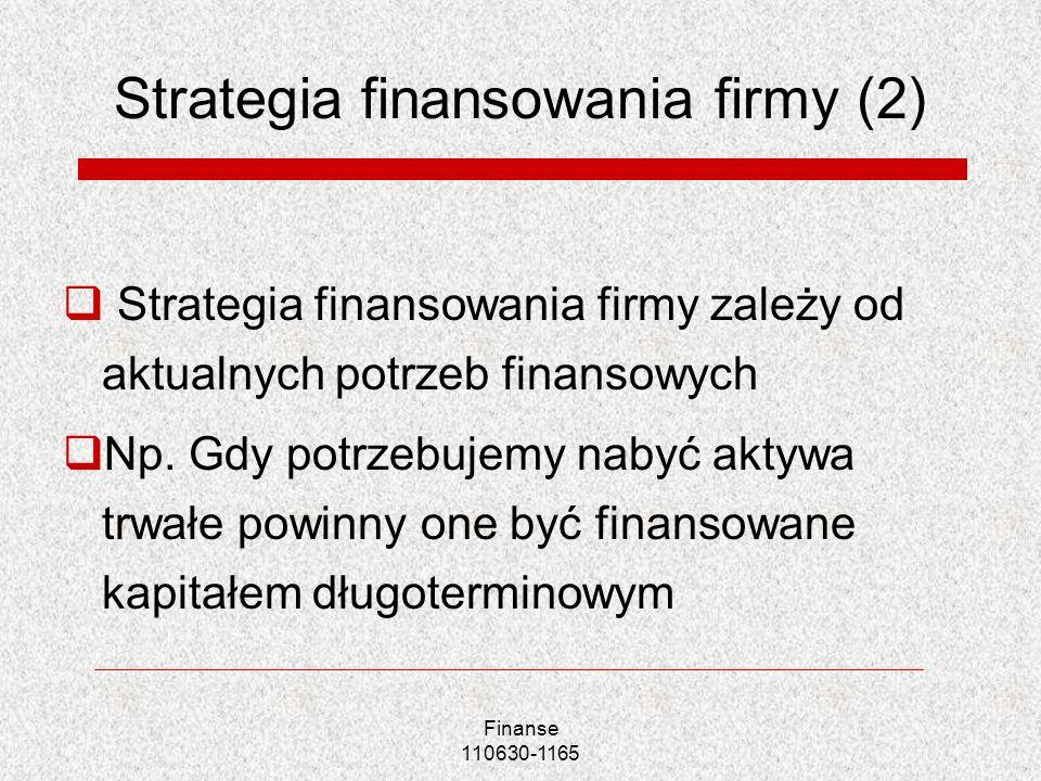 Strategia finansowania firmy (2) Strategia finansowania firmy zależy od aktualnych potrzeb finansowych Np. Gdy potrzebujemy nabyć aktywa trwałe powinn