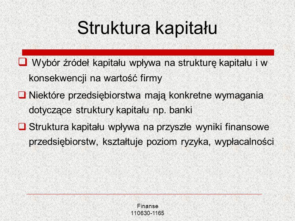 Struktura kapitału Wybór źródeł kapitału wpływa na strukturę kapitału i w konsekwencji na wartość firmy Niektóre przedsiębiorstwa mają konkretne wymag