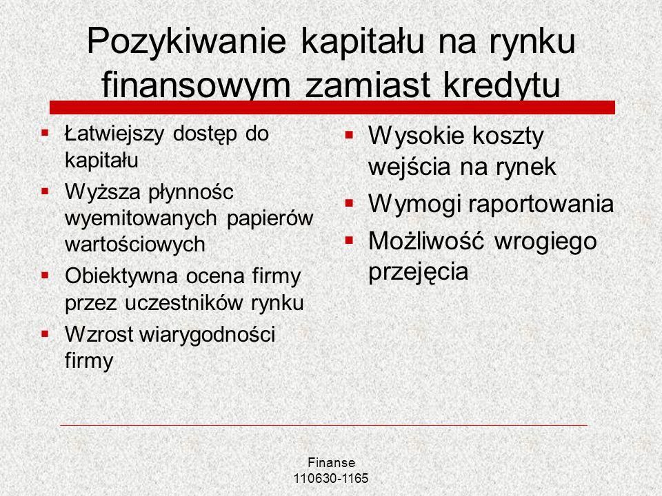 Pozykiwanie kapitału na rynku finansowym zamiast kredytu Łatwiejszy dostęp do kapitału Wyższa płynnośc wyemitowanych papierów wartościowych Obiektywna