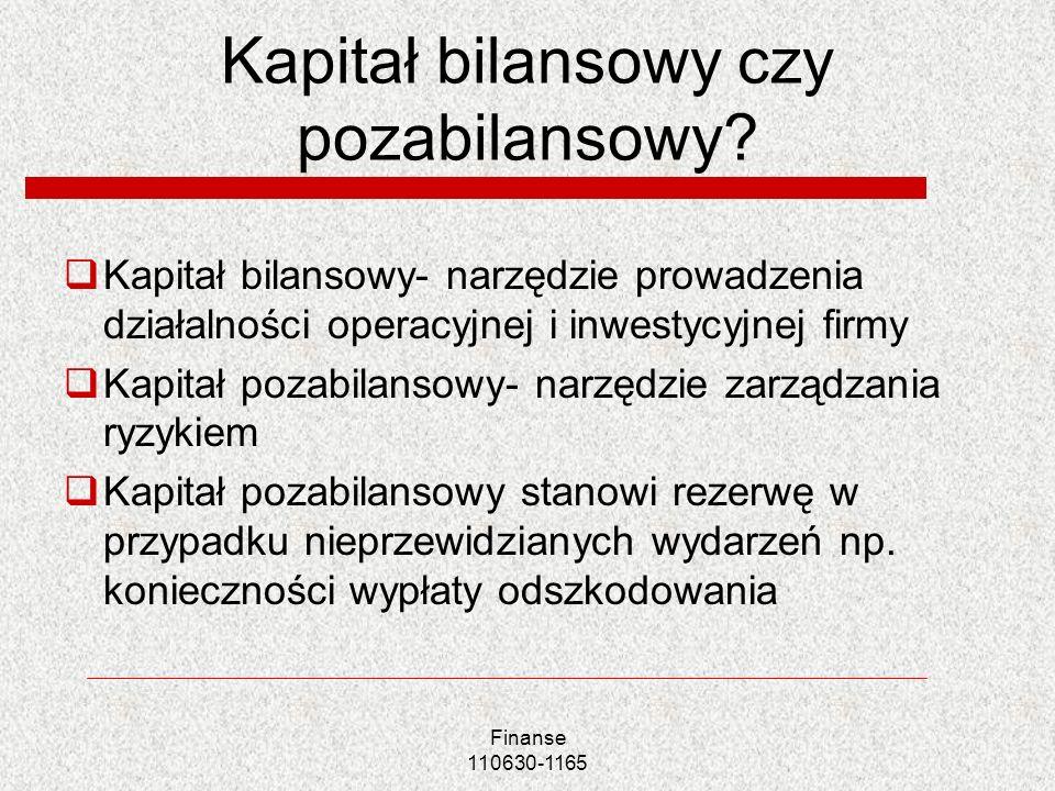 Kapitał bilansowy czy pozabilansowy? Kapitał bilansowy- narzędzie prowadzenia działalności operacyjnej i inwestycyjnej firmy Kapitał pozabilansowy- na
