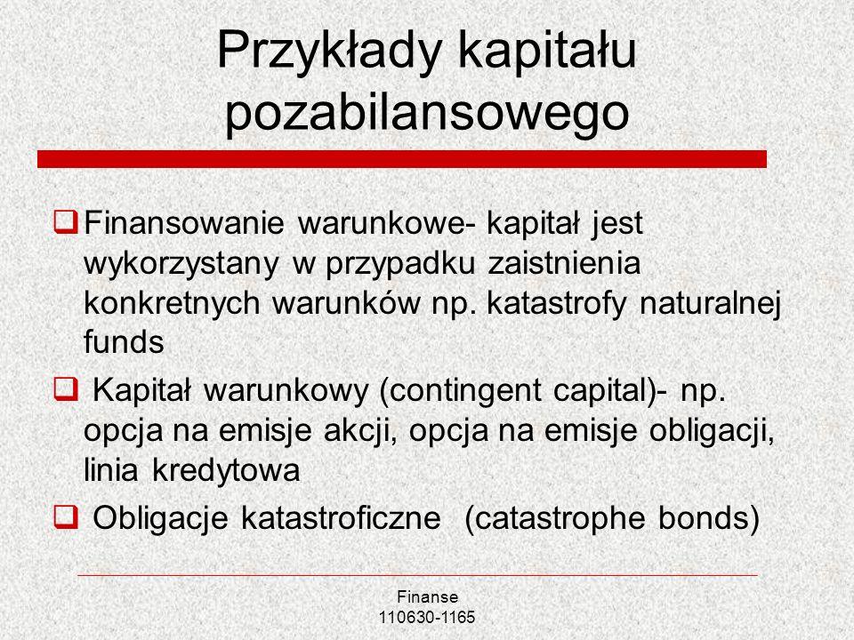 Przykłady kapitału pozabilansowego Finansowanie warunkowe- kapitał jest wykorzystany w przypadku zaistnienia konkretnych warunków np. katastrofy natur
