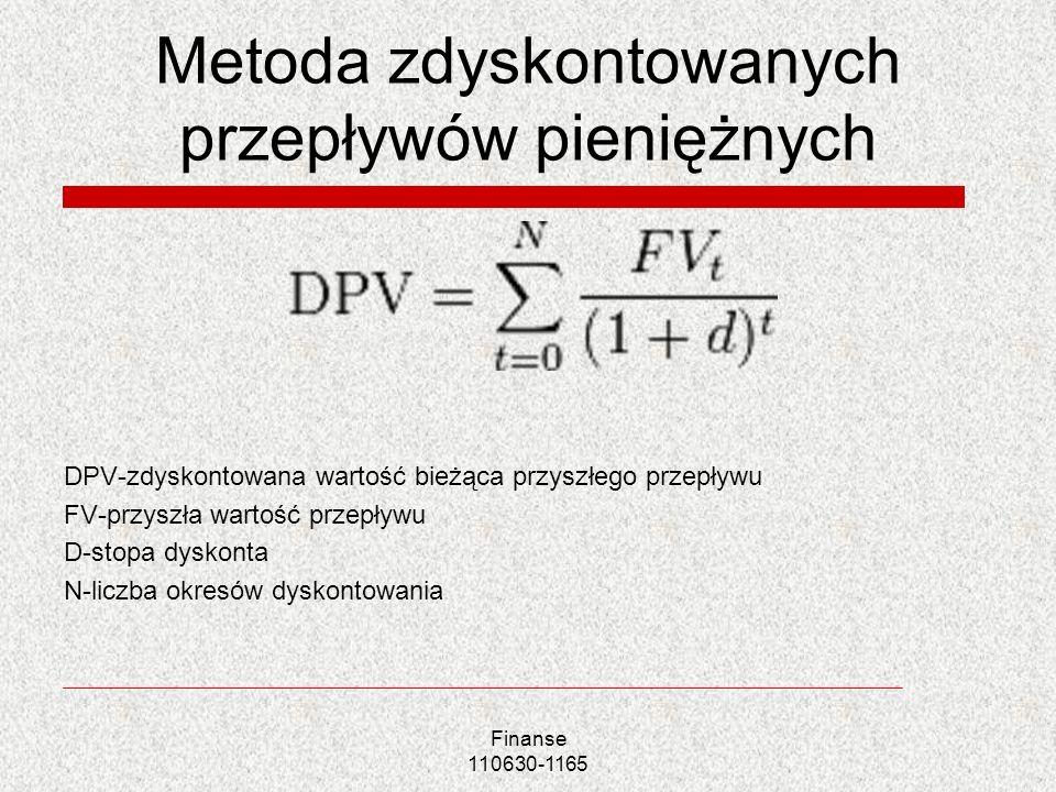 Metoda zdyskontowanych przepływów pieniężnych DPV-zdyskontowana wartość bieżąca przyszłego przepływu FV-przyszła wartość przepływu D-stopa dyskonta N-