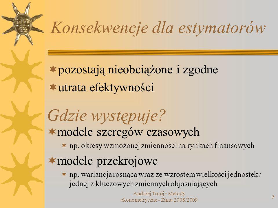 Konsekwencje dla estymatorów Andrzej Torój - Metody ekonometryczne - Zima 2008/2009 3 pozostają nieobciążone i zgodne utrata efektywności Gdzie występ