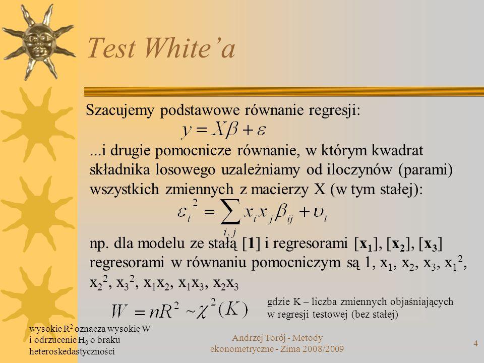 Test Whitea 4 Szacujemy podstawowe równanie regresji:...i drugie pomocnicze równanie, w którym kwadrat składnika losowego uzależniamy od iloczynów (pa