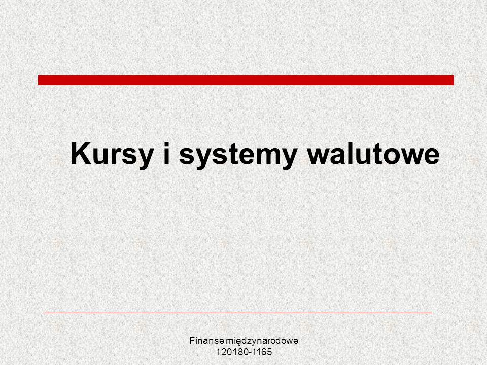 Finanse międzynarodowe 120180-1165 Plan wykładu Pojęcie kursu walutowego Systemy kursowe Rodzaje kursu walutowego Równowaga na rynku walutowym