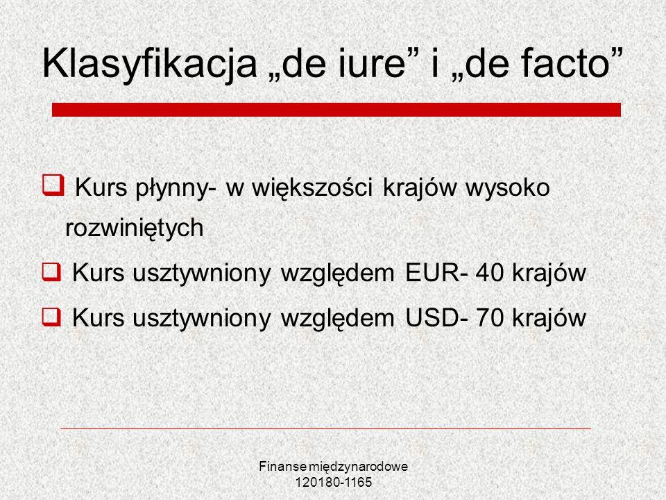 Finanse międzynarodowe 120180-1165 Klasyfikacja de iure i de facto Kurs płynny- w większości krajów wysoko rozwiniętych Kurs usztywniony względem EUR-