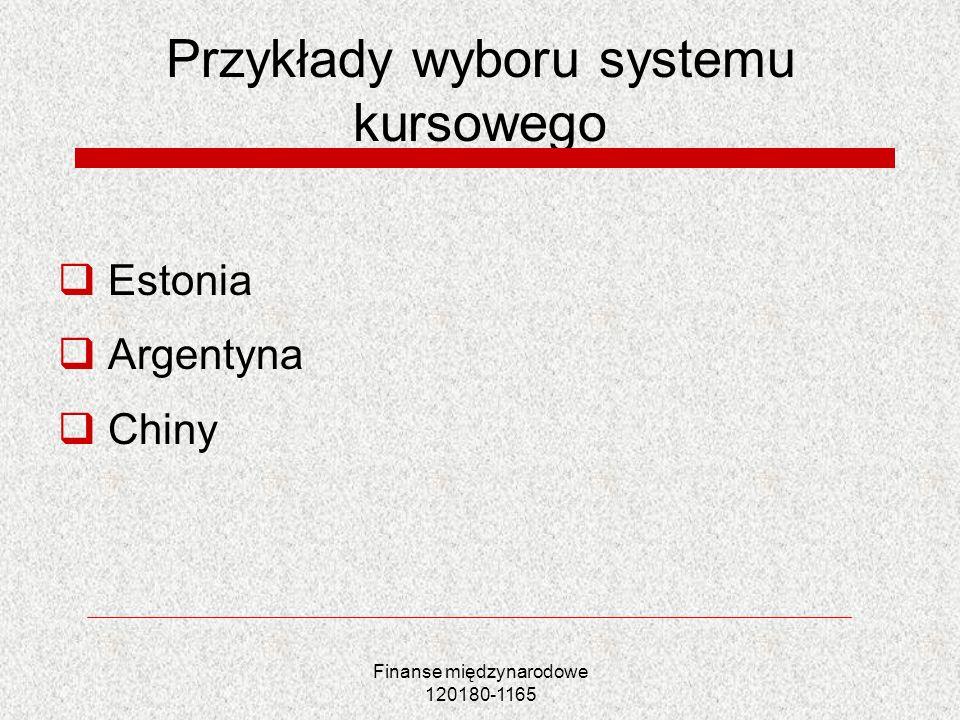 Finanse międzynarodowe 120180-1165 Przykłady wyboru systemu kursowego Estonia Argentyna Chiny