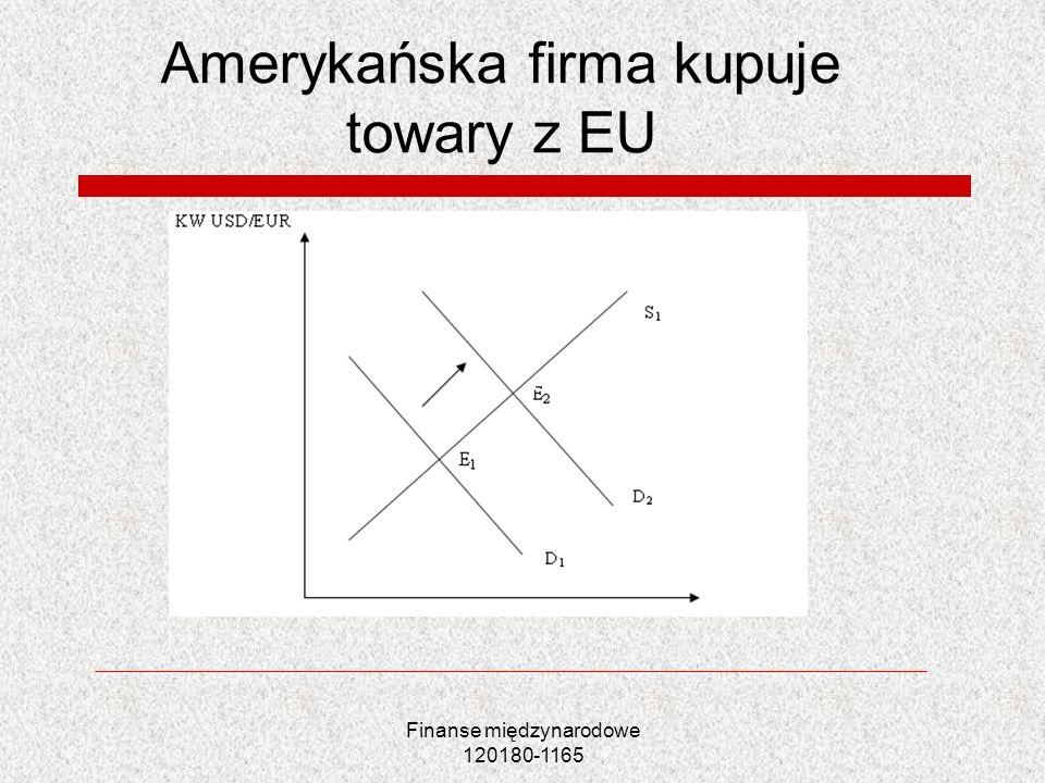 Finanse międzynarodowe 120180-1165 Amerykańska firma kupuje towary z EU