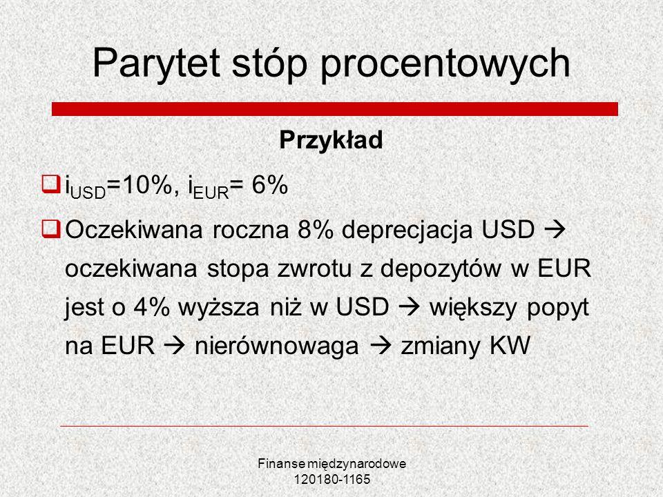 Finanse międzynarodowe 120180-1165 Parytet stóp procentowych Przykład i USD =10%, i EUR = 6% Oczekiwana roczna 8% deprecjacja USD oczekiwana stopa zwr