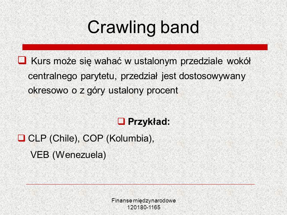 Finanse międzynarodowe 120180-1165 Crawling band Kurs może się wahać w ustalonym przedziale wokół centralnego parytetu, przedział jest dostosowywany o