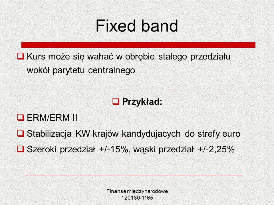 Finanse międzynarodowe 120180-1165 Fixed band Kurs może się wahać w obrębie stałego przedziału wokół parytetu centralnego Przykład: ERM/ERM II Stabili