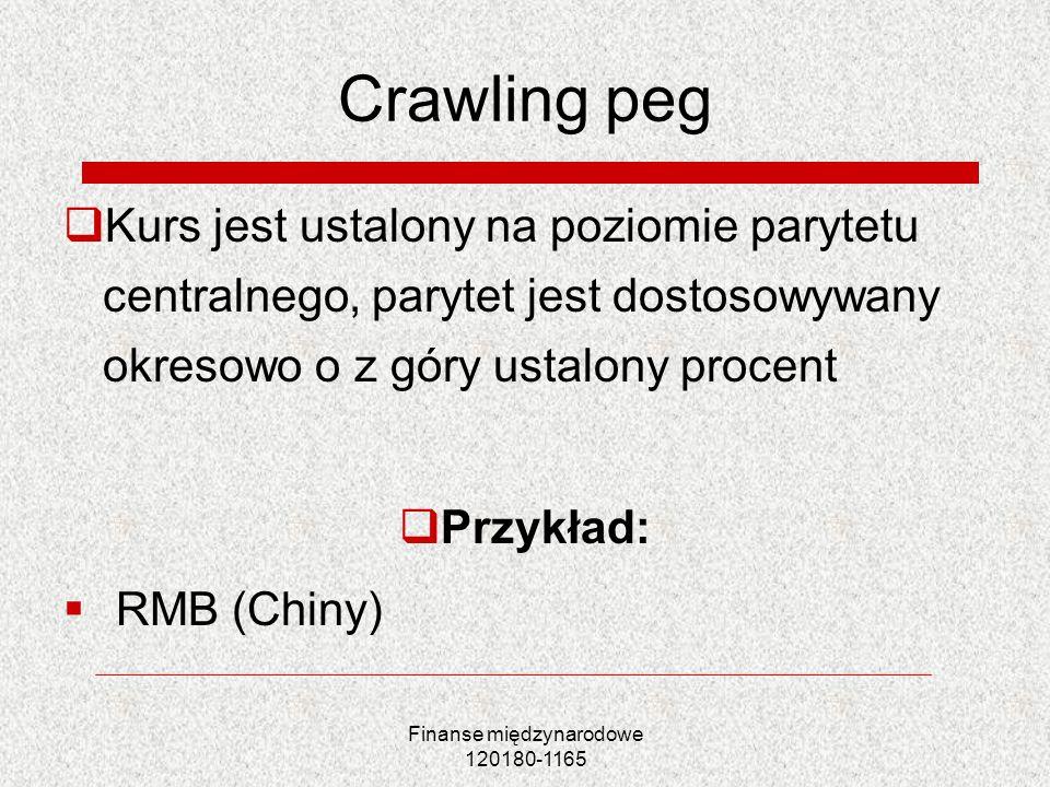 Finanse międzynarodowe 120180-1165 Crawling peg Kurs jest ustalony na poziomie parytetu centralnego, parytet jest dostosowywany okresowo o z góry usta