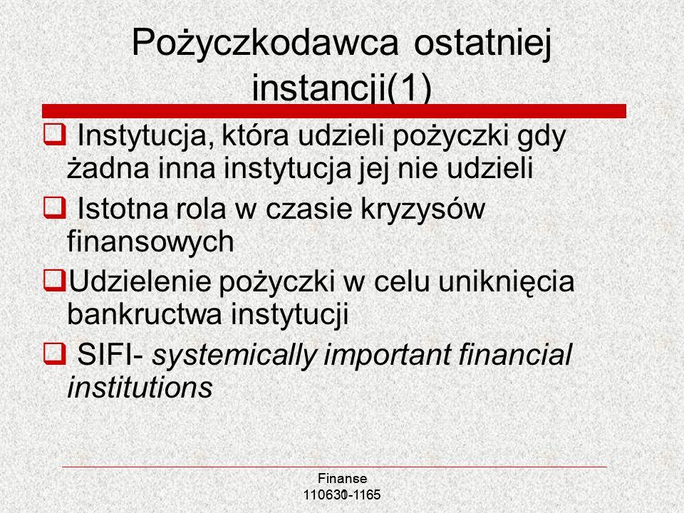 Pożyczkodawca ostatniej instancji(1) Instytucja, która udzieli pożyczki gdy żadna inna instytucja jej nie udzieli Istotna rola w czasie kryzysów finan