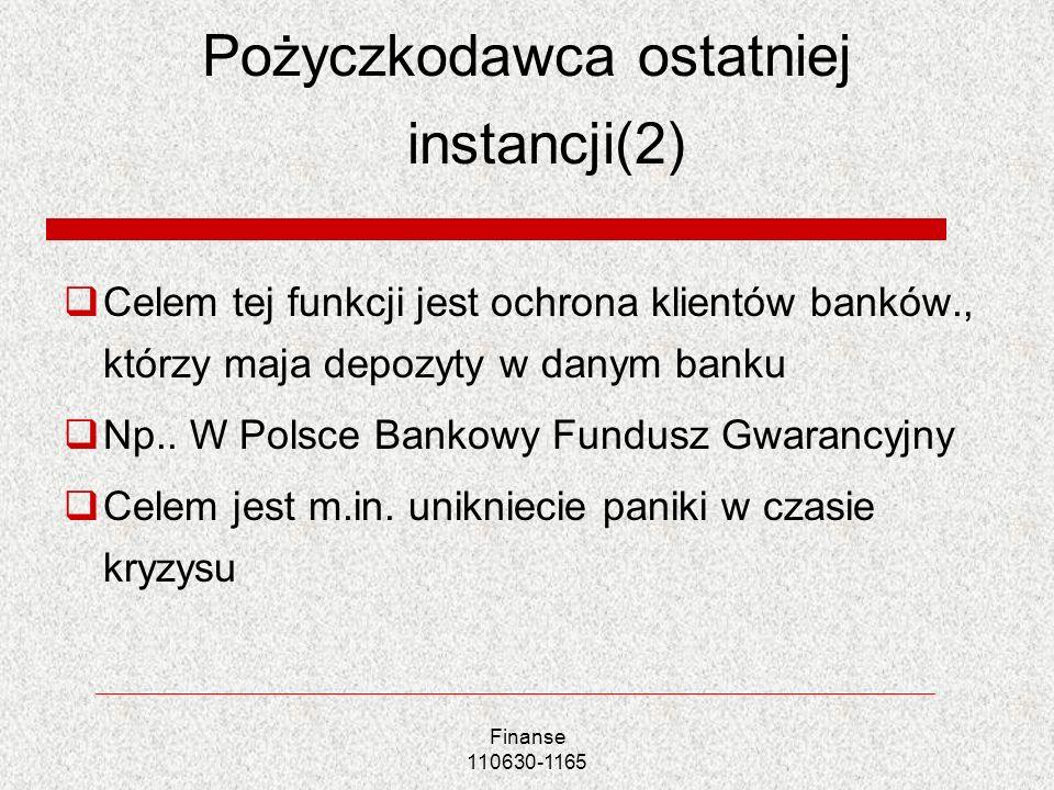 Pożyczkodawca ostatniej instancji(2) Celem tej funkcji jest ochrona klientów banków., którzy maja depozyty w danym banku Np.. W Polsce Bankowy Fundusz