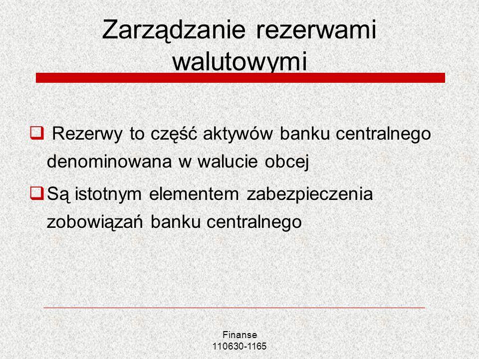 Finanse 110630-1165 Zarządzanie rezerwami walutowymi Rezerwy to część aktywów banku centralnego denominowana w walucie obcej Są istotnym elementem zab