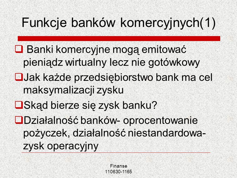 Funkcje banków komercyjnych(1) Banki komercyjne mogą emitować pieniądz wirtualny lecz nie gotówkowy Jak każde przedsiębiorstwo bank ma cel maksymaliza
