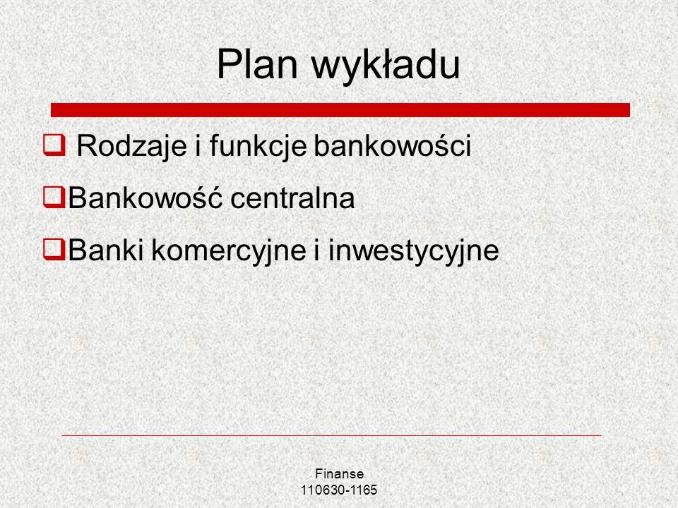 Finanse 110630-1165 Plan wykładu Rodzaje i funkcje bankowości Bankowość centralna Banki komercyjne i inwestycyjne