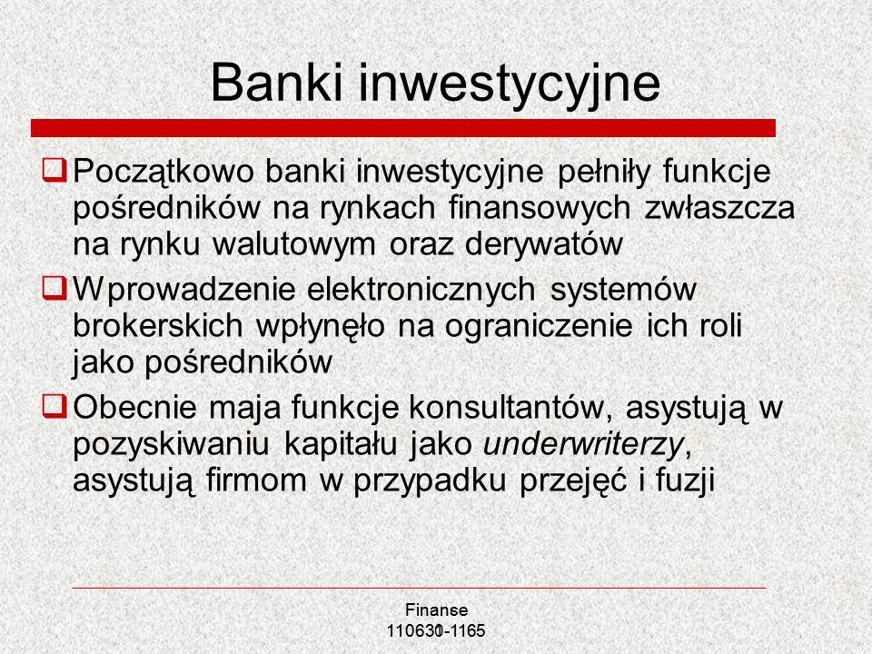 Banki inwestycyjne Początkowo banki inwestycyjne pełniły funkcje pośredników na rynkach finansowych zwłaszcza na rynku walutowym oraz derywatów Wprowa