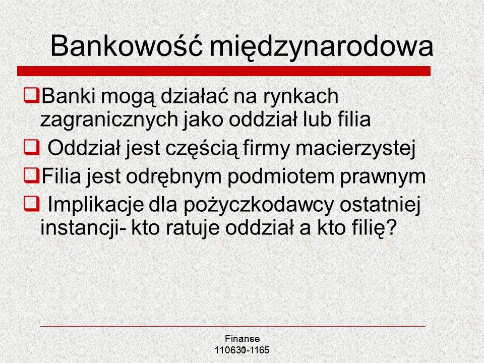 Bankowość międzynarodowa Banki mogą działać na rynkach zagranicznych jako oddział lub filia Oddział jest częścią firmy macierzystej Filia jest odrębny