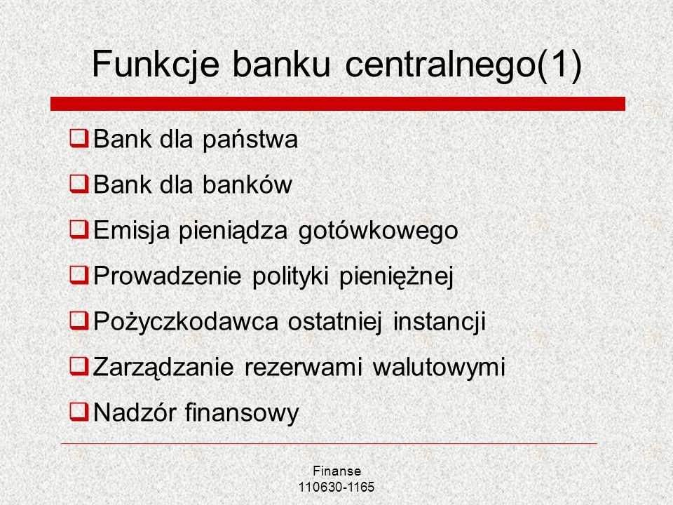 Finanse 110630-1165 Funkcje banku centralnego(1) Bank dla państwa Bank dla banków Emisja pieniądza gotówkowego Prowadzenie polityki pieniężnej Pożyczk