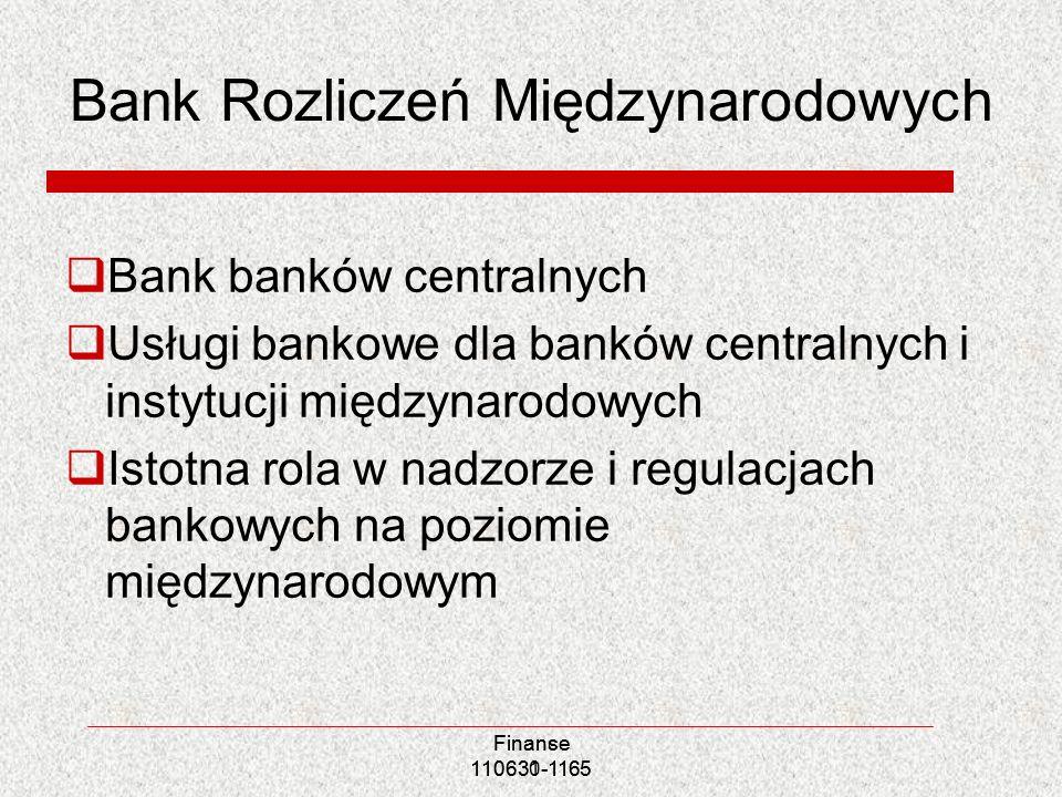 Bank Rozliczeń Międzynarodowych Bank banków centralnych Usługi bankowe dla banków centralnych i instytucji międzynarodowych Istotna rola w nadzorze i
