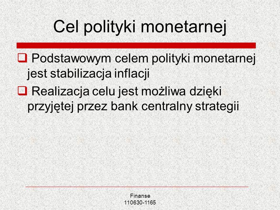Cel polityki monetarnej Podstawowym celem polityki monetarnej jest stabilizacja inflacji Realizacja celu jest możliwa dzięki przyjętej przez bank cent
