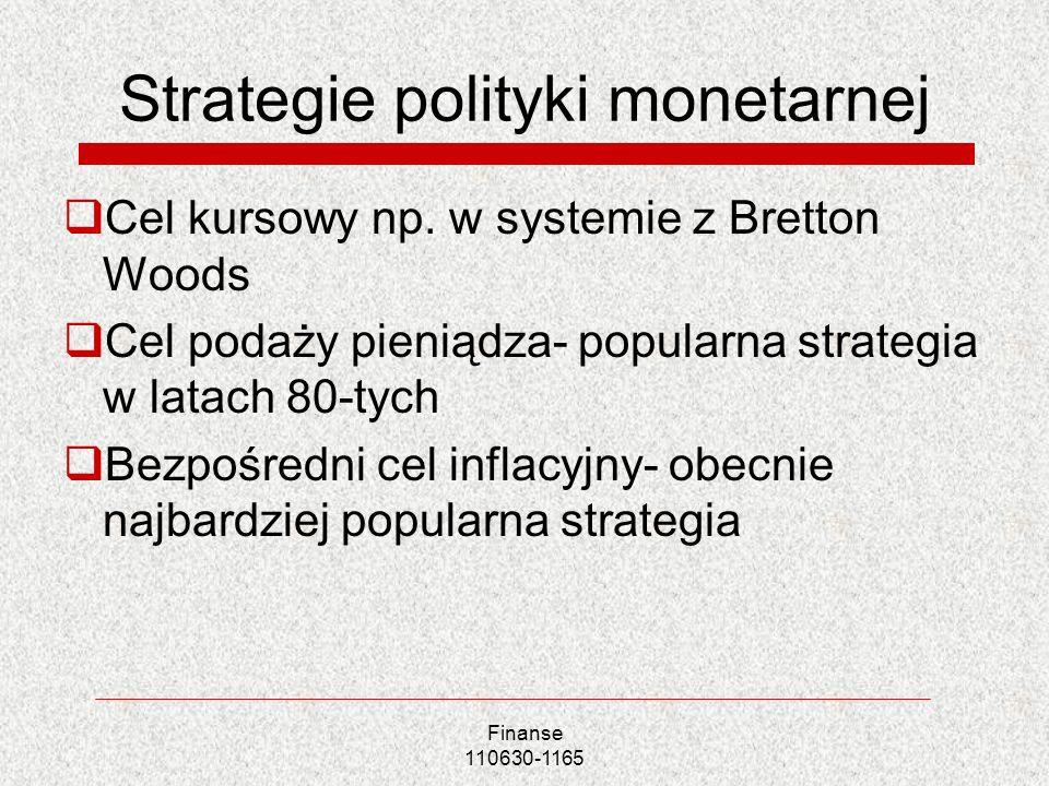 Strategie polityki monetarnej Cel kursowy np. w systemie z Bretton Woods Cel podaży pieniądza- popularna strategia w latach 80-tych Bezpośredni cel in