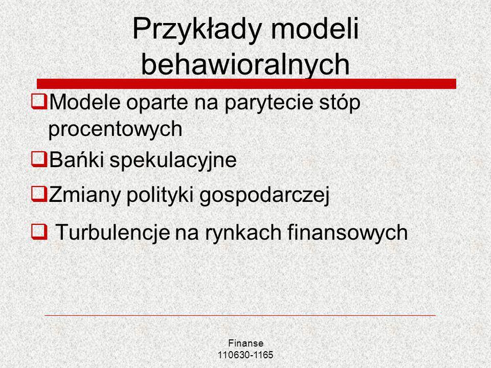 Przykłady modeli behawioralnych Modele oparte na parytecie stóp procentowych Bańki spekulacyjne Zmiany polityki gospodarczej Turbulencje na rynkach fi