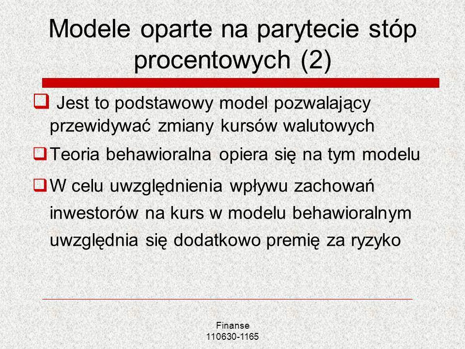 Modele oparte na parytecie stóp procentowych (2) Jest to podstawowy model pozwalający przewidywać zmiany kursów walutowych Teoria behawioralna opiera