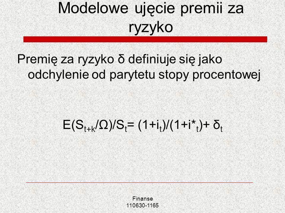 Modelowe ujęcie premii za ryzyko Premię za ryzyko δ definiuje się jako odchylenie od parytetu stopy procentowej E(S t+k /Ω)/S t = (1+i t )/(1+i* t )+