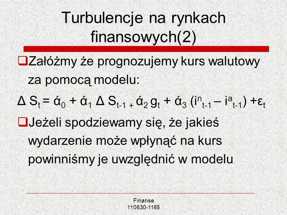 Turbulencje na rynkach finansowych(2) Załóżmy że prognozujemy kurs walutowy za pomocą modelu: Δ S t = ά 0 + ά 1 Δ S t-1 + ά 2 g t + ά 3 (i n t-1 – i a