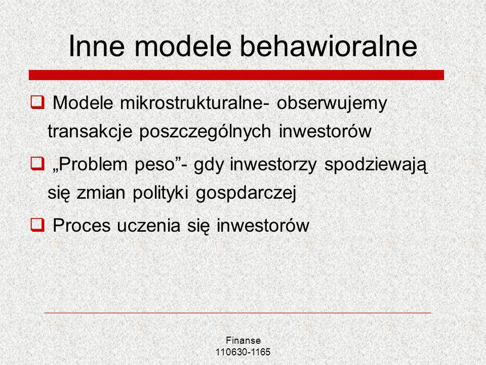 Inne modele behawioralne Modele mikrostrukturalne- obserwujemy transakcje poszczególnych inwestorów Problem peso- gdy inwestorzy spodziewają się zmian