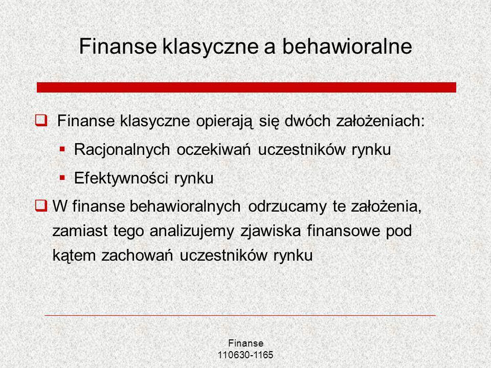 Finanse klasyczne a behawioralne Finanse klasyczne opierają się dwóch założeniach: Racjonalnych oczekiwań uczestników rynku Efektywności rynku W finan