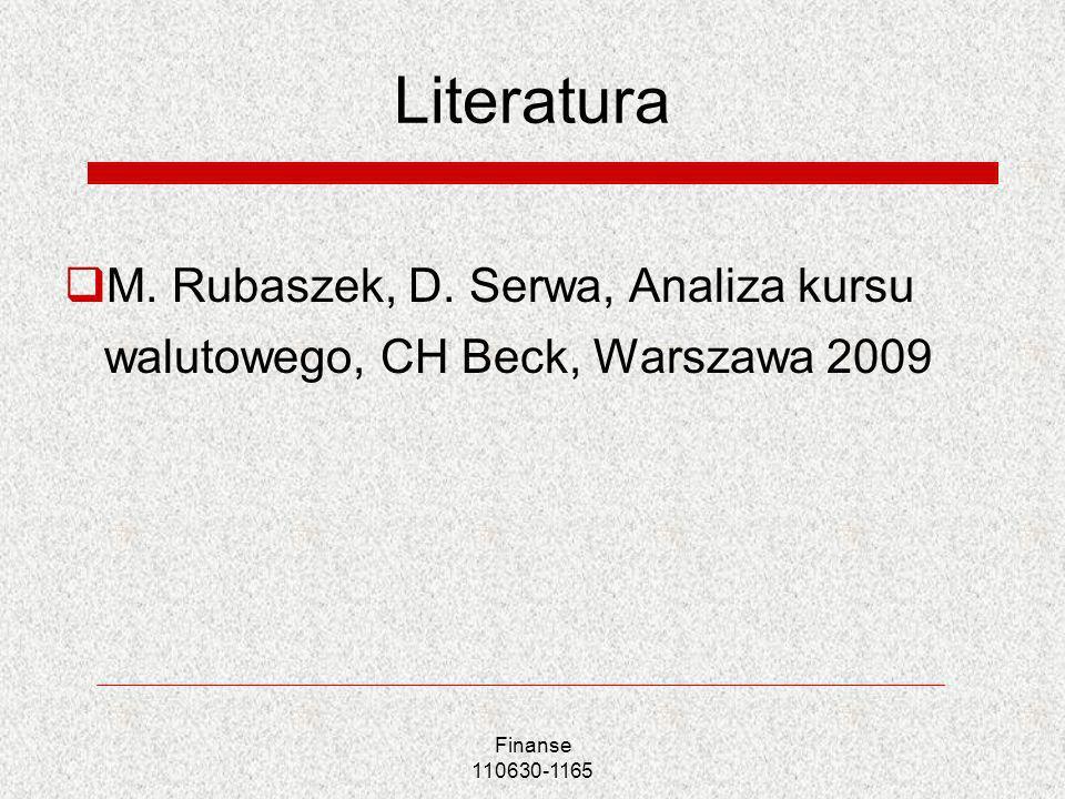 Literatura M. Rubaszek, D. Serwa, Analiza kursu walutowego, CH Beck, Warszawa 2009 Finanse 110630-1165
