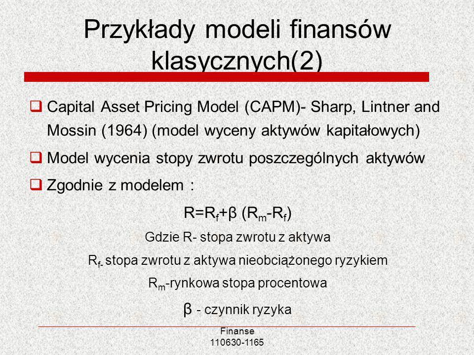 Przykłady modeli finansów klasycznych(2) Capital Asset Pricing Model (CAPM)- Sharp, Lintner and Mossin (1964) (model wyceny aktywów kapitałowych) Mode