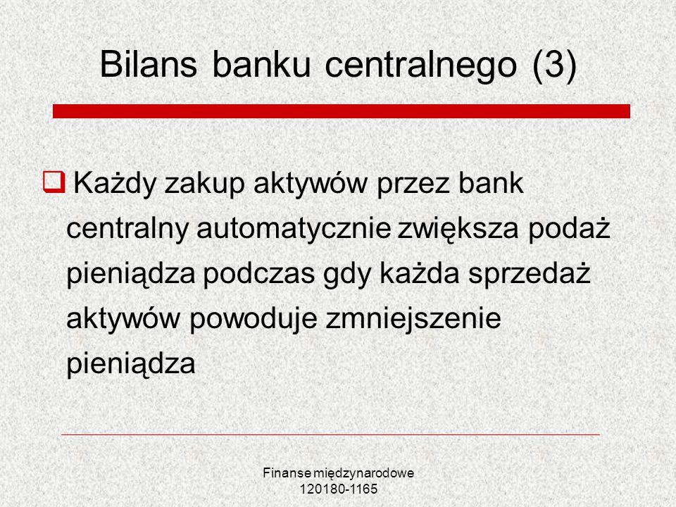 Finanse międzynarodowe 120180-1165 Bilans banku centralnego (3) Każdy zakup aktywów przez bank centralny automatycznie zwiększa podaż pieniądza podcza