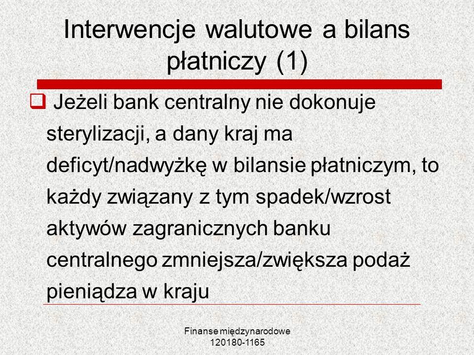 Finanse międzynarodowe 120180-1165 Interwencje walutowe a bilans płatniczy (1) Jeżeli bank centralny nie dokonuje sterylizacji, a dany kraj ma deficyt