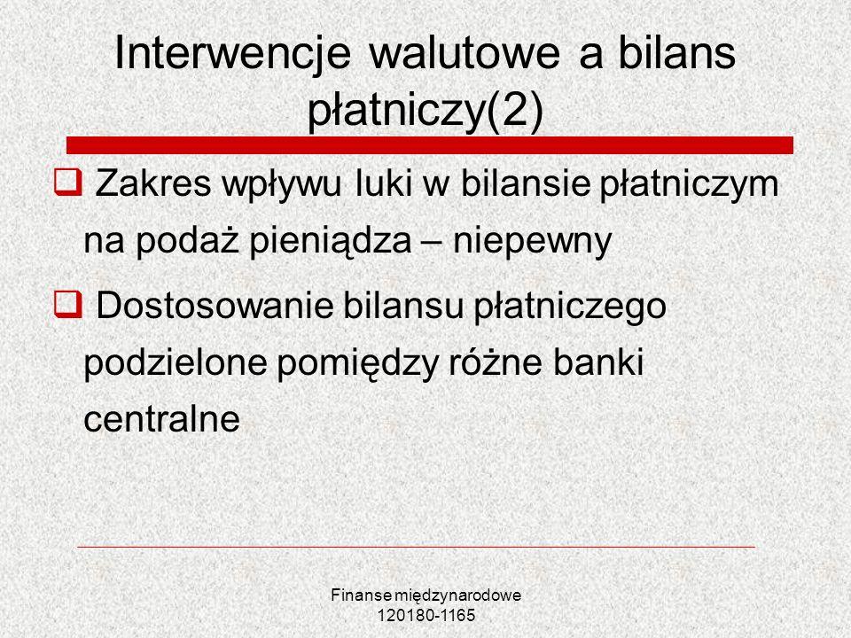 Finanse międzynarodowe 120180-1165 Interwencje walutowe a bilans płatniczy(2) Zakres wpływu luki w bilansie płatniczym na podaż pieniądza – niepewny D