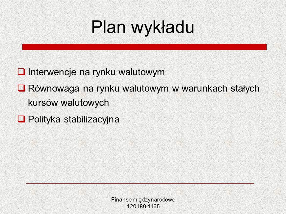 Finanse międzynarodowe 120180-1165 Plan wykładu Interwencje na rynku walutowym Równowaga na rynku walutowym w warunkach stałych kursów walutowych Poli