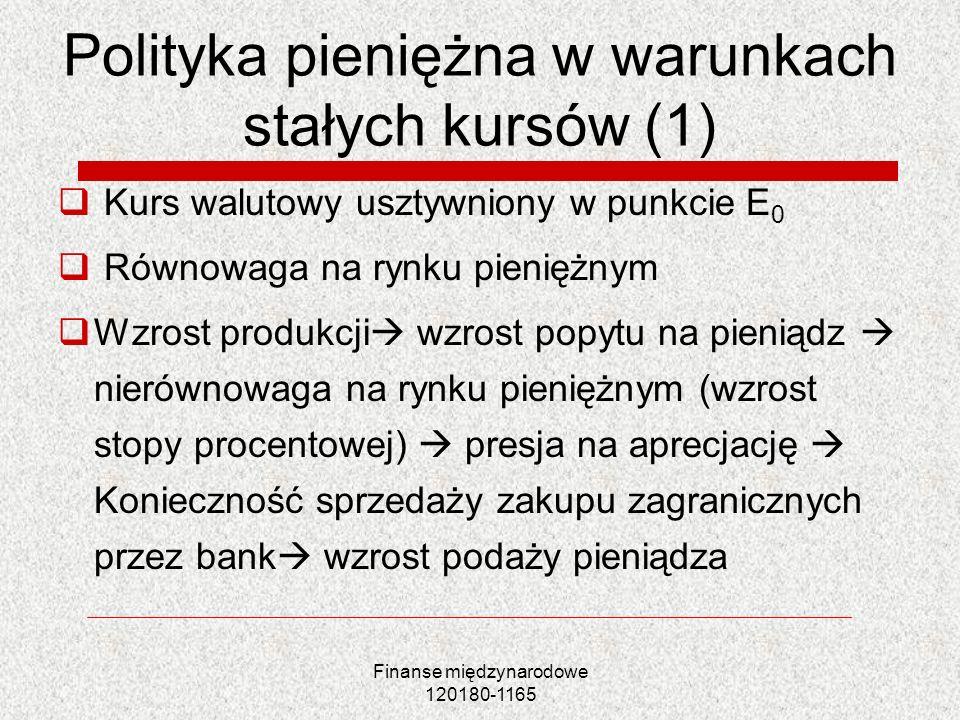 Finanse międzynarodowe 120180-1165 Polityka pieniężna w warunkach stałych kursów (1) Kurs walutowy usztywniony w punkcie E 0 Równowaga na rynku pienię