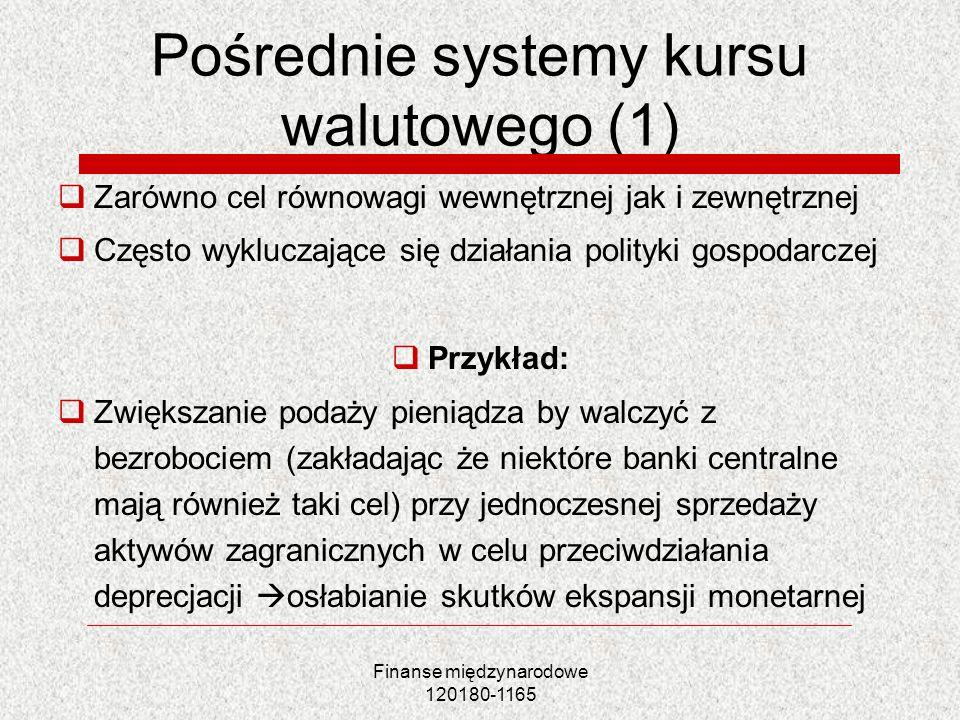 Finanse międzynarodowe 120180-1165 Pośrednie systemy kursu walutowego (1) Zarówno cel równowagi wewnętrznej jak i zewnętrznej Często wykluczające się