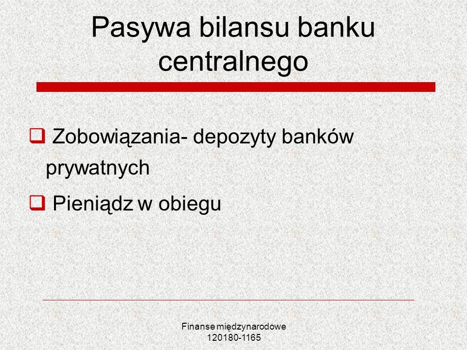 Finanse międzynarodowe 120180-1165 Pasywa bilansu banku centralnego Zobowiązania- depozyty banków prywatnych Pieniądz w obiegu
