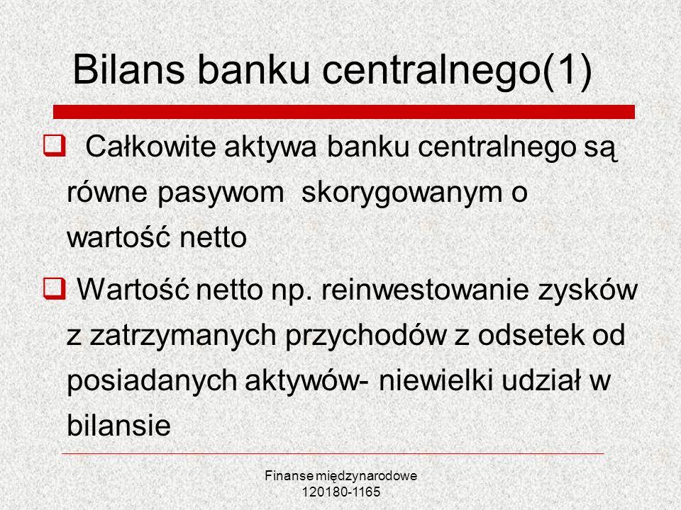 Bilans banku centralnego(1) Całkowite aktywa banku centralnego są równe pasywom skorygowanym o wartość netto Wartość netto np. reinwestowanie zysków z
