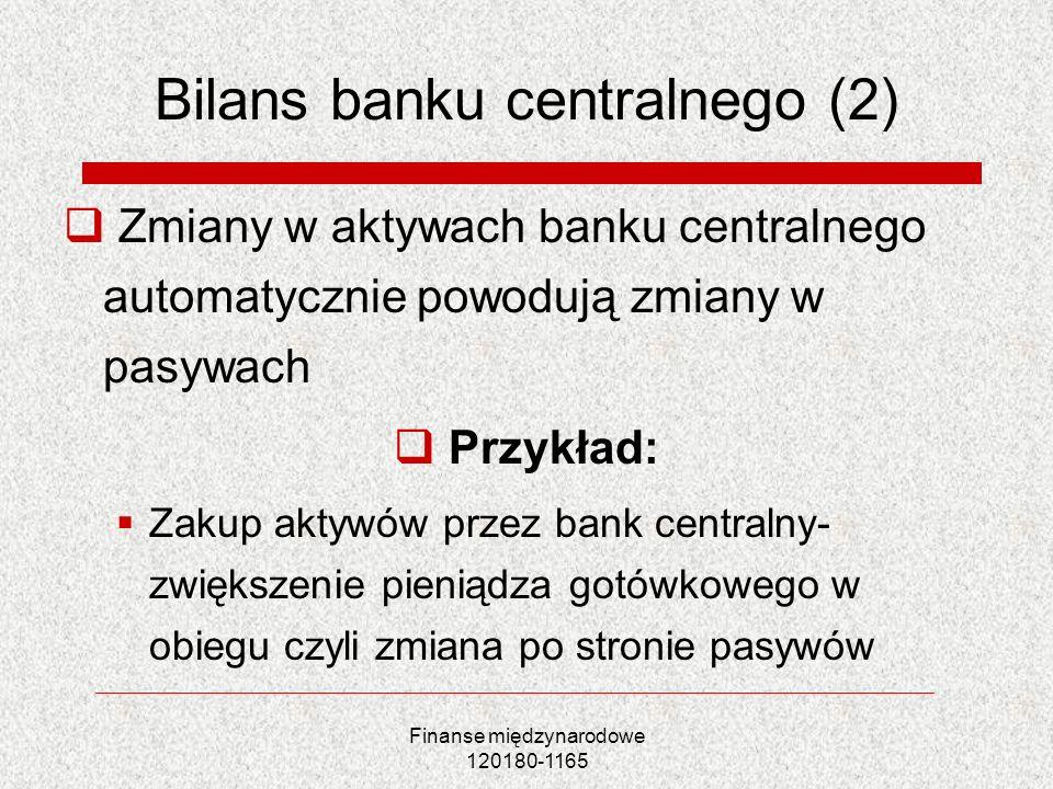 Finanse międzynarodowe 120180-1165 Bilans banku centralnego (2) Zmiany w aktywach banku centralnego automatycznie powodują zmiany w pasywach Przykład:
