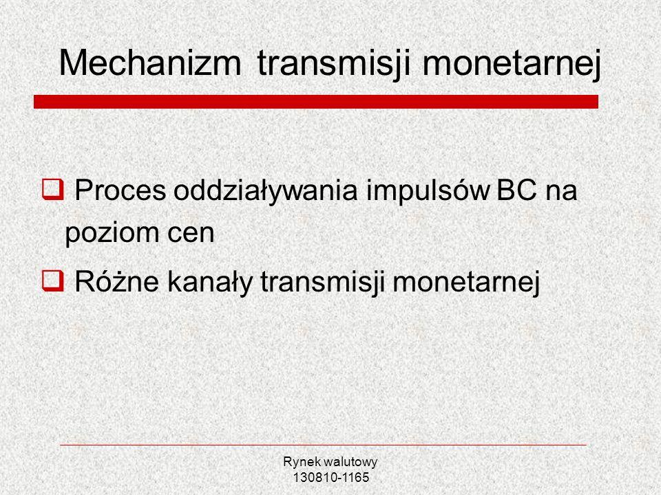 Rynek walutowy 130810-1165 Mechanizm transmisji monetarnej Proces oddziaływania impulsów BC na poziom cen Różne kanały transmisji monetarnej