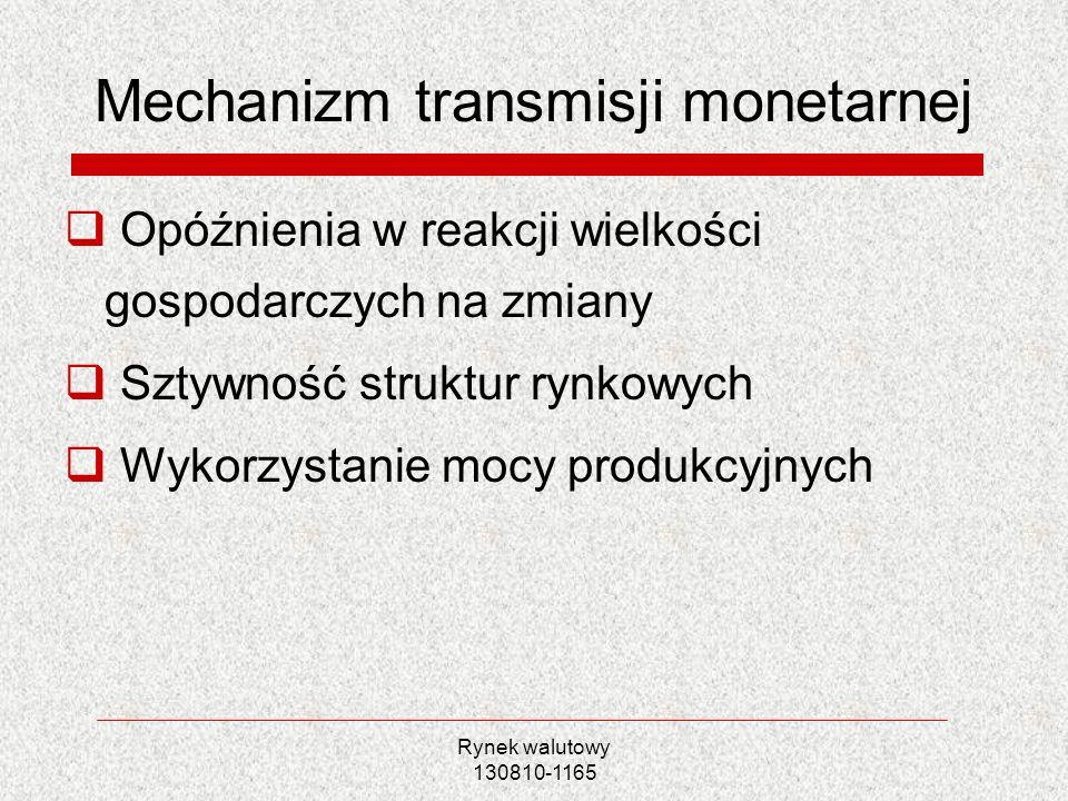 Rynek walutowy 130810-1165 Mechanizm transmisji monetarnej Opóźnienia w reakcji wielkości gospodarczych na zmiany Sztywność struktur rynkowych Wykorzy